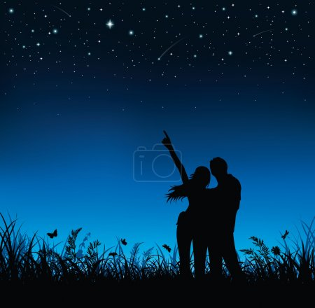 Illustration for Silhouette of couple standing and watching the night sky. - Royalty Free Image