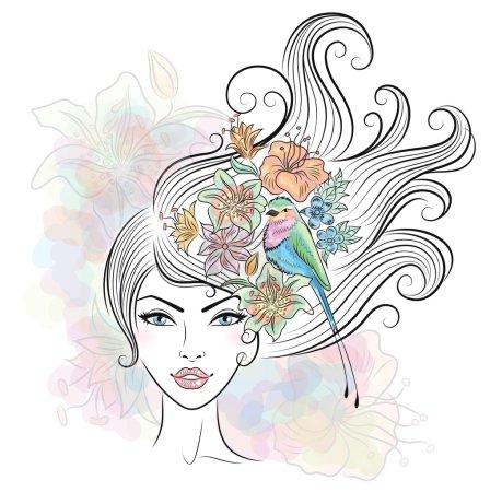 Illustration pour Portrait d'une femme avec des fleurs tropicales et un oiseau dans ses cheveux . - image libre de droit