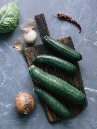 Fresh green squashes
