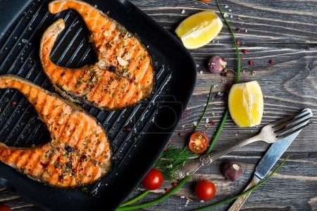 Grilled steaks salmon