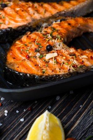 Grilled steak salmon