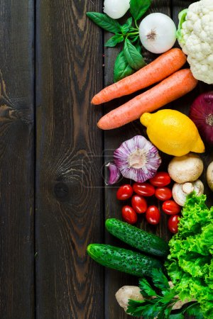 Photo for Composition with variety of fresh organic vegetables, top view - Royalty Free Image