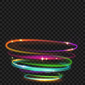 Multicolored glowing fire rings with glitter Light effects