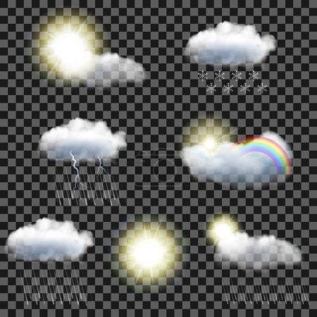 Illustration pour Ensemble de sept icônes météo transparentes réalistes - image libre de droit