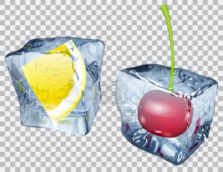 Illustration for Two transparent ice cubes with frozen cherry and slice of lemon - Royalty Free Image