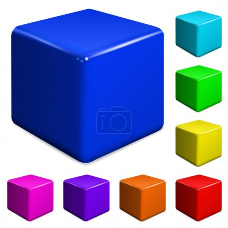 Illustration for Set of multicolored plastic cubes - Royalty Free Image