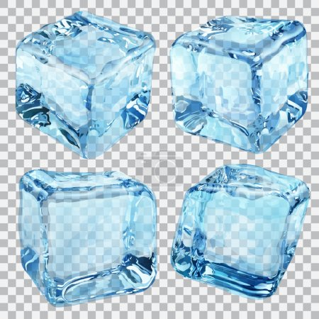 Transparent blue ice cubes