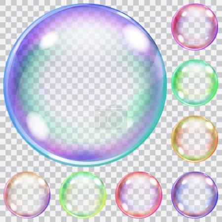 Illustration pour Ensemble de bulles de savon transparentes colorées de différentes nuances - image libre de droit