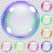 Set of colorful transparent soap bubbles