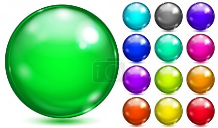 Multicolored spheres of various saturated colors
