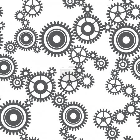 Illustration for Seamless pattern of gear wheels in gray colors - Royalty Free Image