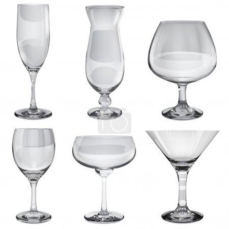Set of empty opaque glass goblets for different drinks