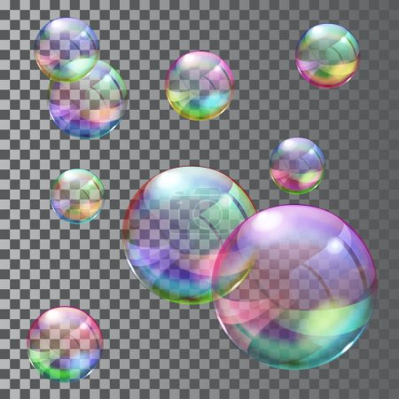 Illustration for Set of multicolored transparent soap bubbles. Transparency only in vector file - Royalty Free Image