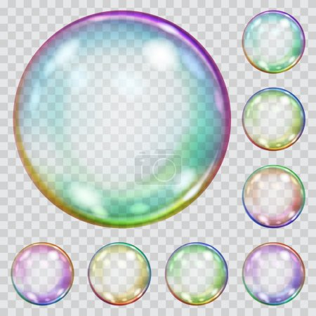 Set of multicolored transparent soap bubbles