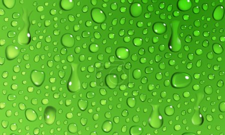 Illustration for Background of water droplets on the surface in green colors - Royalty Free Image