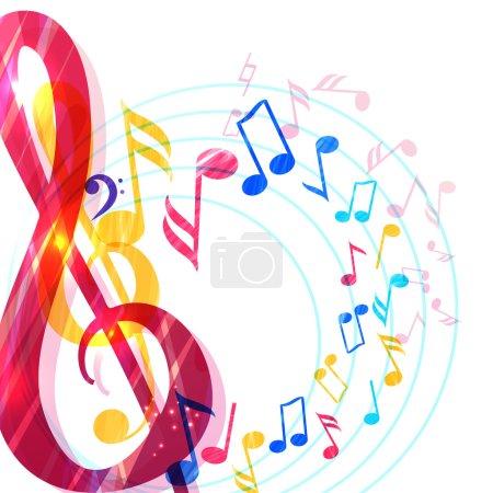 Illustration pour Fond musical abstrait avec diverses notes de musique et clef aigu, illustration vectorielle - image libre de droit