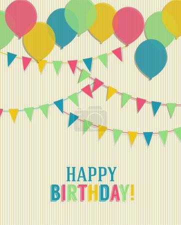 Ilustración de Tarjeta del feliz cumpleaños con globos y banderas - Imagen libre de derechos