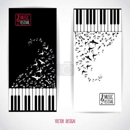 Illustration for Abstract music background with keyboard, variouse music notes and flying birds, vector illustration, flyer set design - Royalty Free Image