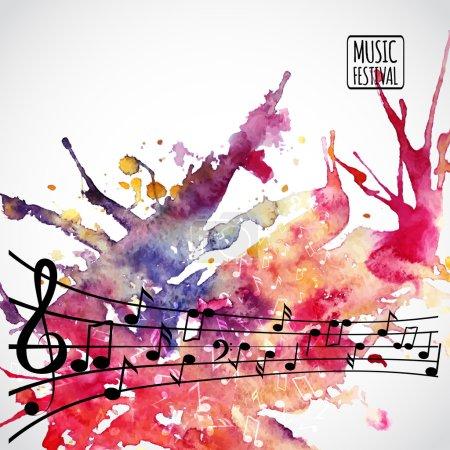 Illustration pour Fond musical avec notes de musique et clef - image libre de droit