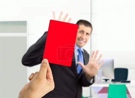 dismissed with a red card
