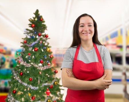 saleswoman on Christmas