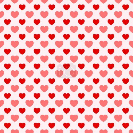 Illustration for Pink and red nice Valentine seamless hearts background - Royalty Free Image