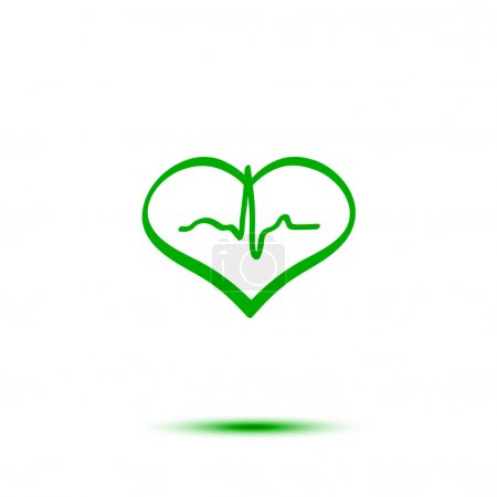 Green heart and ecg hand-drawn vector icon...
