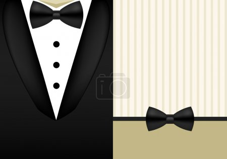Illustration for Vector bow tie tuxedo invitation design template holiday background - Royalty Free Image