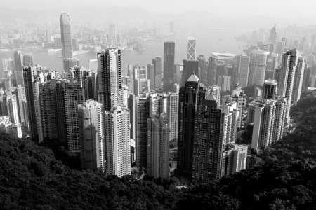 Hong Kong city view in black and white