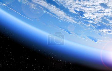 Photo pour Vue de la terre depuis l'espace, planète bleue et noir profond - image libre de droit