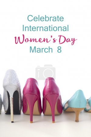 Photo for Row of different pairs of shoes symbolizing different women for International Womens Day, March 8. - Royalty Free Image