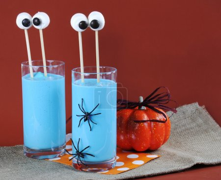 Halloween Blue Smoothie Drink with Funny Marshmallow Eyes
