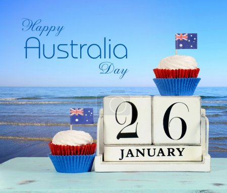 Australia Day calendar by the beach
