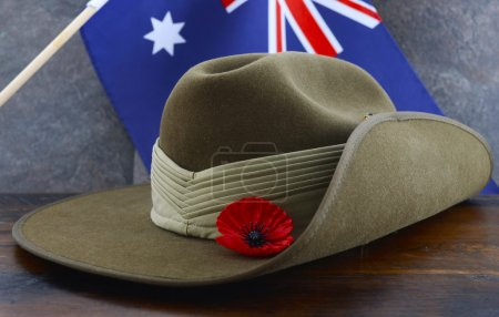 ANZAC slouch hat with Australian Flag