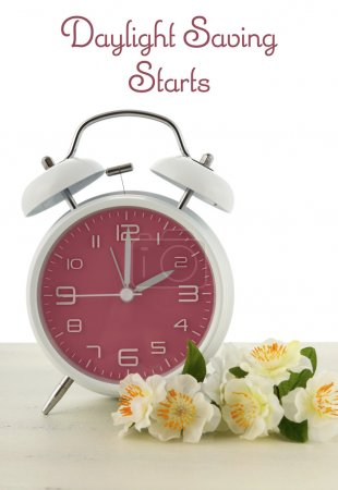 Daylight Saving Time concept with spring theme pin...