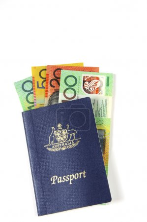 Australian Money with passport for travel concept....