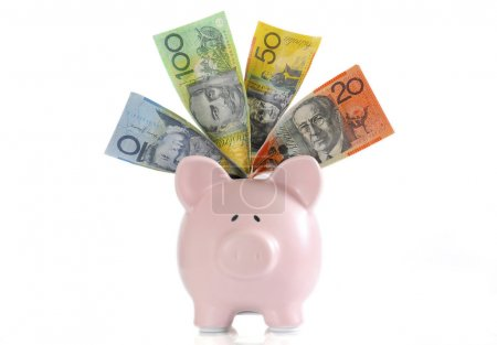 Australian Money with Piggy Bank for saving, spend...