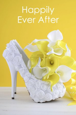 Wedding Day concept with Happily Ever After Text.