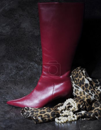 Tall ladies red high hells boots with animal print scarf