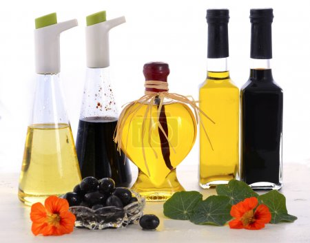Salad Dressing with oils, olives and vinegars