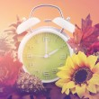 Autumn daylight saving time concept with green clo...