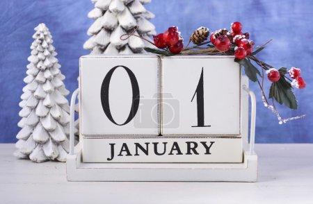 New Year Wood Block Calendar