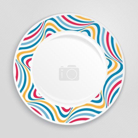 Illustration pour Plaque décorative avec bordure à motifs, sur fond gris, vue de dessus. Illustration vectorielle . - image libre de droit