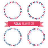 Set of design elements - round floral frames