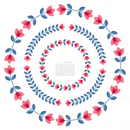 Illustration for Set of design elements - round floral ornamented frames with Scandinavian minimal folk style. Perfect for invitation, greeting card, save the date, wedding design. Vector illustration. - Royalty Free Image