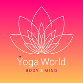 Outline five-petals Lotus flower as symbol of yoga on colorful pink-orange background Sample text - Yoga world body and mind Vector illustration for yoga event school club web