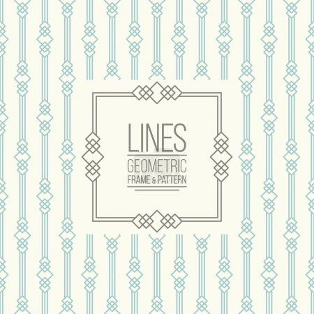 Illustration for Geometric linear pattern and monoline frame. Vintage colors. Seamless abstract vector background.  Package design - badge with geometric border and place for your logo, identity or text. - Royalty Free Image