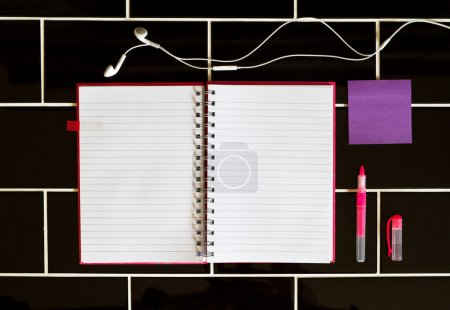 Open notepad and stationery pink purple colors