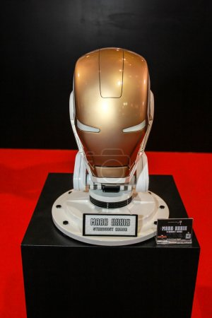 A model of the Iron Man Mask from the movies and comics
