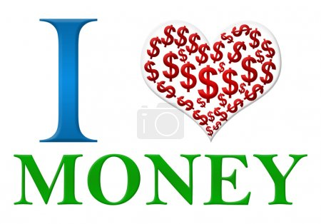 Photo for I love money text with creative heart symbol. - Royalty Free Image